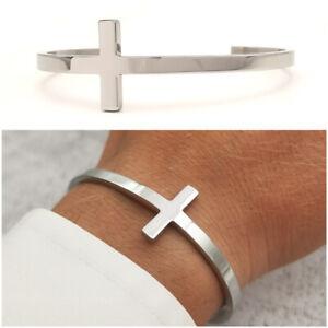 Bracciale da uomo in acciaio inox con croce rigido braccialetto regolabile