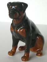 PORCELAIN Figurine DOG Rotweiler black.RARE.UNIQUE.Simply perfect.Hand Painted