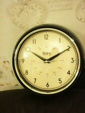 SANGTAI RETRO VINTAGE BLACK PLASTIC WALL CLOCK 24CM DIAM QUARTZ MOVEMENT WORKING