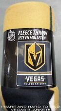 "VEGAS GOLDEN KNIGHTS NHL FLEECE BLANKET THROW ALSO GREAT FOR PICNICS 60"" BY 50"""
