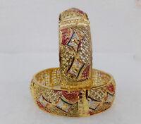 22ct Gold Plated Kara Bracelet Bangle Indian Women Ethnic Fashion Jewelry 2*8 m