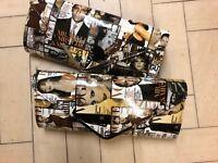 Patent magazine print clutch bag, choice of two colours.  Detachable chain. BNWT