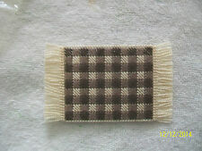 "Doll House Handmade Needlepoint Brown & White Checked Plaid Rug - 2"" x 3 1/2"""