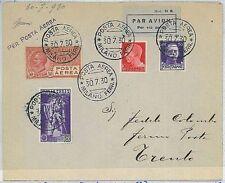 ITALIA storia postale - PRIMI VOLI - catalogo LONGHI 2202 : MILANO - TRENTO 1930