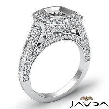 14k White Gold Halo Bezel Set Diamond Engagement Cushion 1.25Ct Semi Mount Ring