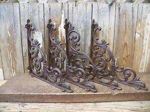 "Set of 4 X-LARGE Cast Iron Shelf Brackets Rustic Brown Antique-Style 13"" x 13"""