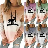 Plus Size Women Deer Print Christmas Xmas Printed Long Sleeve T-Shirt Casual Top