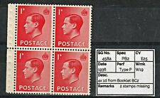 0710: Sg458a 4x 1d from Booklet Bc2. Type 2 stamps missing 1936 Spec Pb2. c£25