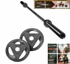 """CAP Olympic Weightlifting Barbell + 50 lbs 2"""" Weight Plates Set 80 lbs Total"""