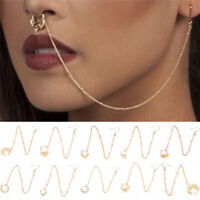 Nose to Ear Chain Ring & Pierced Earrings Jewelry Chain Link Nose Clip Ring  VGC