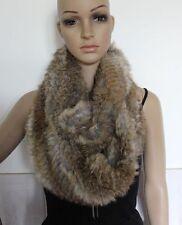 On sale Real rabbit fur hand knit circle long scarfs scarves brown grey black