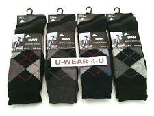12 Pr Mens Argyle Socks Assorted Colours 6-11 Size