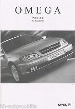 OPEL Omega listino prezzi 21.8.00 2000 PRICE LIST LISTINO PREZZI AUTO prezzi Auto Europa