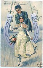 Elegant VALENTINE Couple HORSESHOE SWING Silver EMB PFB