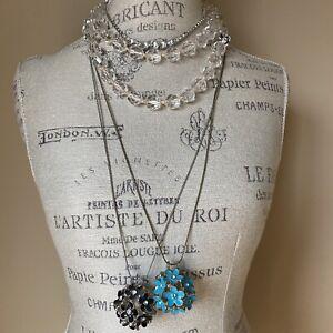 Necklace Lot Of 4 Daisy Flower Rhinestone