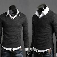 hommes décontracté slim fit col V Sweatshirt Manteau T-SHIRT HAUT SWEAT PULL