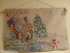 Festive House Flashing Tapestry Christmas Picture With Lights 60 x 40cm Indoor
