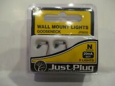 "WOODLAND SCENICS N SCALE WALL MOUNT GOOSENECK LIGHTS (2) - ""JUST PLUG SYSTEM"""