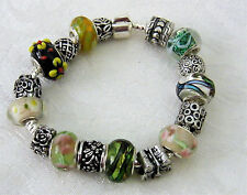 Lampwork Glass & Silver Beads Bracelet Multi-colour Foil & Floral, New.