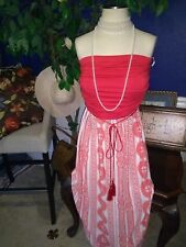 Beautiful Red & White Mediterranean Maxi Dress Dress Size 1X/ 2X, boho,cruise