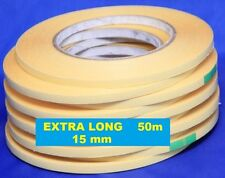 15mm Double Sided Adhesive Sticky Tape Easy Lift Paper Cardboard EXTRA LONG 50m