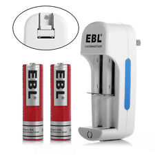 EBL 2x 18650 Rechargeable Li-ion Batteries + 18350 14500 14430 AA Dual Charger