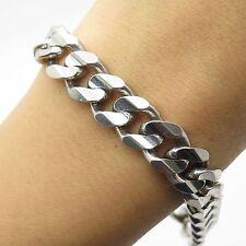 Italy 925 Sterling Silver Thick Heavy Wide Men's Cuban Link Bracelet 8'