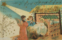 """ Christmas,Holy,Nativity Scene,Angel,Stern "" 1901,Embossed Postcard (22204)"