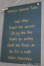 Nanny's Caravan Rules RV Sign - Camping Camper Wooden Country Sign Grandmother