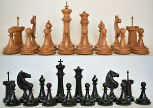 Antique 19th Century Fine Tournament Wooden Chess Pieces Set French English