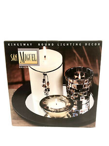 San Miguel Espresso Wood Mirror Tray With Metallic Mosaic Votive Pillar Candle