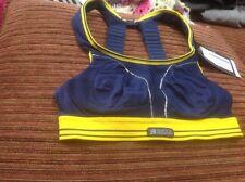 30A Yellow/Navy Blue, Shock Absorber B5044NY Women's Run Sports Bra Top-RRP £37
