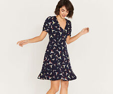 OASIS TEA DRESS Navy Blue BIRDS Illustrator Story Lebedeva Frill Hem  Sz 12 NEW