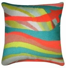 Oh Joy! Rainbow Stripe BED PILLOW Embroidered STITCHING, decorative BRIGHT NEON