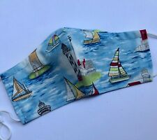 Sailboats  Boats  Lighthouses  100% Cotton Fabric Double Layer Washable reusable