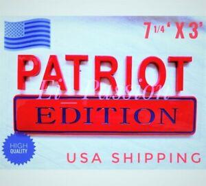 PATRIOT EDITION Red Blue Fit All Car Truck logo CUSTOM EMBLEM Bumper Badge Sign