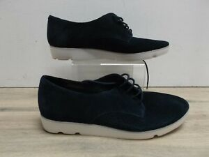 Clarks Somerset Ladies Navy Blue Suede Perforated Front Lace Up Shoes UK 6 EU 39