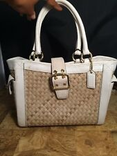 Coach Natural Straw Tote Purse White Leather Suede Limited Edition Handbag 4419