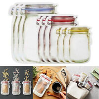 3 Size New Plastic Reusable Mason Jar Zipper Bags Kitchen Food Smell-Proof Bags