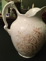 Rare Utah Pottery Antique Ironstone Victorian Chamber Pitcher Circa 1860's