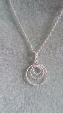 "UK Hand-Made 22"" 925 Sterling Silver 3 Circles Pendant Necklace"