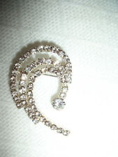 Plated With Crystal Rhinestones Nwot Scroll Design Brooch Pin Jewelry Silver