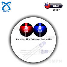 100Pcs 3mm 3Pin Dual Bi-Color Red/Blue Common Anode Water Clear LED Diodes
