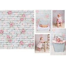 3x5FT Flower Brick Studio Wall Backdrop Photography Background Baby Newborn Prop