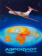 Nighttime Moscow Soviet Airlines Russia USSR Vintage Travel Art Poster Print