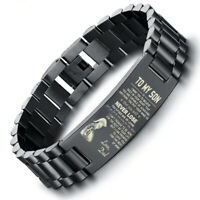 Stainless Steel Men Bracelet Byzantine Chain To My Son Father's Day Courage Gift