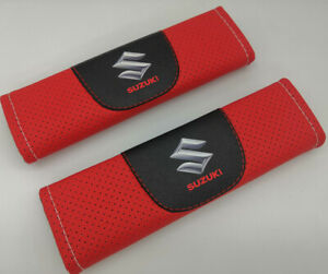 2Pcs Red Color Car Seat Belt Shoulder Cushion Cover Pad Fit For Suzuki Auto