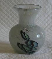 Signed Mdina 11cm Art Glass Mottled White & Blue Vase