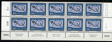 Switzerland, 1959 Pro Patria 40 Rp. MNH partial sheet of 10 with inscriptions