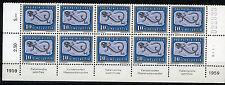 Suisse, 1959 Pro Patria 40 Rp. MNH Partiel Feuille de 10 avec Inscriptions